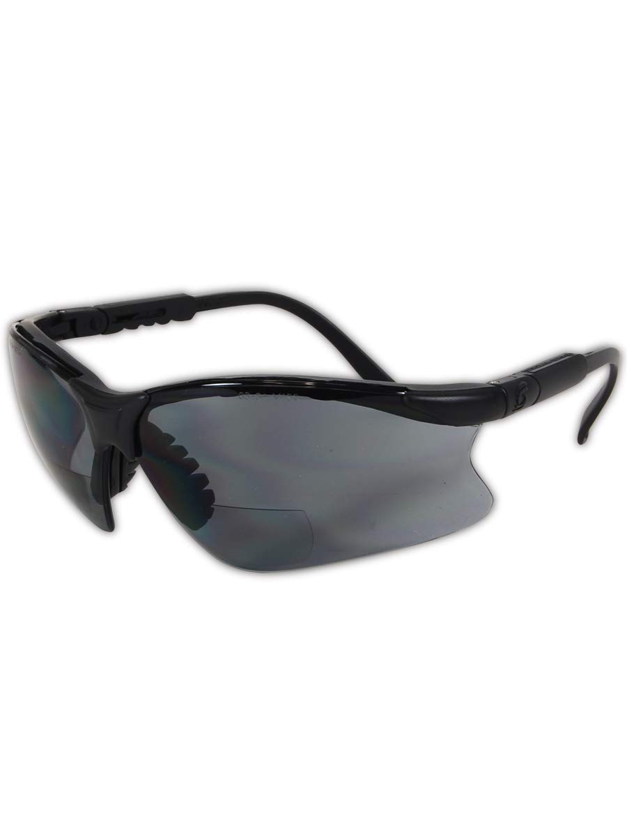Gateway Safety 16MG20 Scorpion MAG Safety Glasses, 2.0 Diopter Magnification, Gray Lens, Black Frame