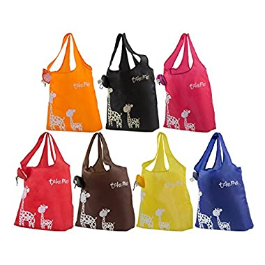 KiwiPi Giraffe Eco-friendly Stylish Reusable Foldable Washable Grocery/Shopping Tote Bag, Set of 6 (Random Colors)