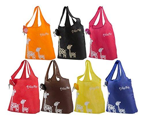 KiwiPi Giraffe Eco-friendly Stylish Reusable Foldable Washable Grocery/Shopping Tote Bag, Set of 6 (Random Colors)