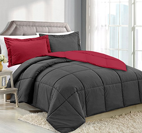 Elite Bed Comforter Set - Queen Comforter Reversible Duvet Insert With Shams - Gray/Burgundy - Hypoallergenic, Plush Siliconized Fiberfill, Box Stitched, Luxury Goose Down Alternative Comforter, Protects Against Dust.