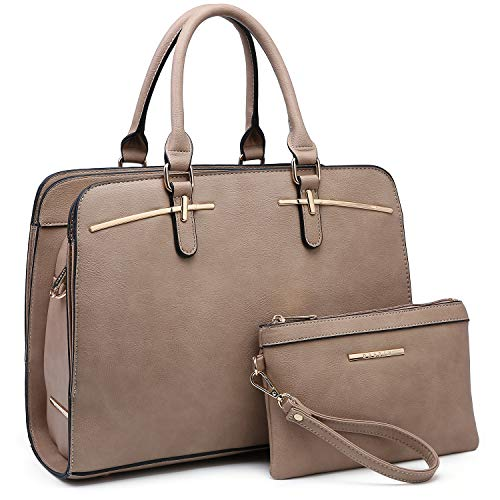 - Women Handbag Fashion Satchel Multi Pockets Purse 2 Pieces Set Triple Compartment Shoulder Bag Faux Leather (02- Camel)