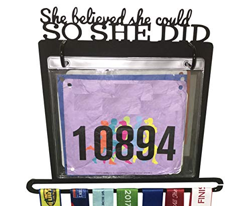 "Race Bib and Medal Display - ""She Believed She Could So She Did"" Hanging and Race Medal Hanger (solid metal)"