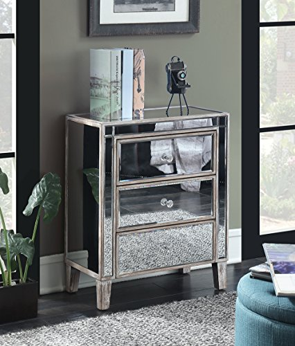 Convenience Concepts 413859WW Gold Coast 3 Drawer Mirrored End Table, Weathered White ()