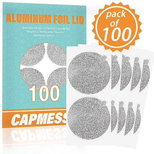 CAPMESSO Aluminum Foils Lids to Reuse Capsules Coffee Pods Compatible with Nespresso VertuoLine 64mm(100/package)