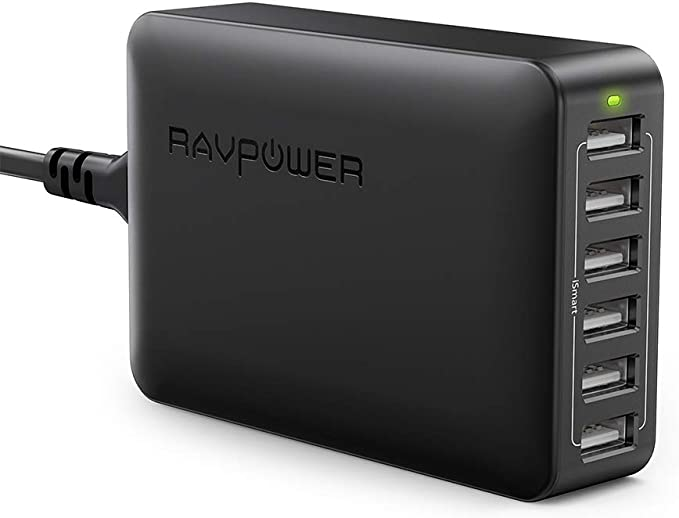 USB Charger RAVPower 60W 12A 6-Port Desktop USB Charging Station with iSmart Multiple Port, Compatible iPhone 11 Pro Max XS Max XR X 8 Plus, iPad Pro ...