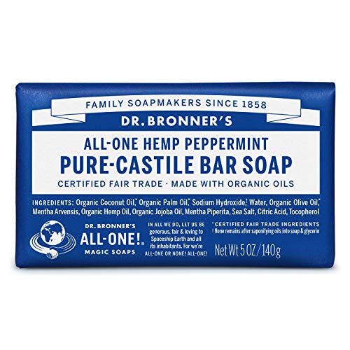 Dr. Bronner's - Pure-Castile Bar Soap (Peppermint, 5 ounce) - Made with Organic Oils, For Face, Body and Hair, Gentle and Moisturizing, Biodegradable, Vegan, Cruelty-free, Non-GMO
