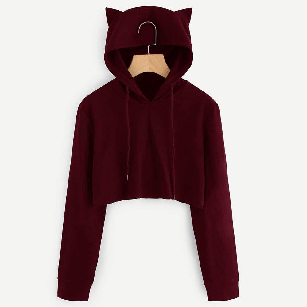 Cinnamou Pullover para Mujers, Mujeres Sudaderas con Capucha de Orejas de Gato Manga Larga Sudaderas Tumblr Mujer Cortas Blusa Tops: Amazon.es: Ropa y ...