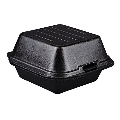 1 Compartment Foam Container - Genpak SN225-3L Black Color 1 Large Compartment Sandwich Foam Hinged Dinner Container Lid 125-Pack (Case of 4)