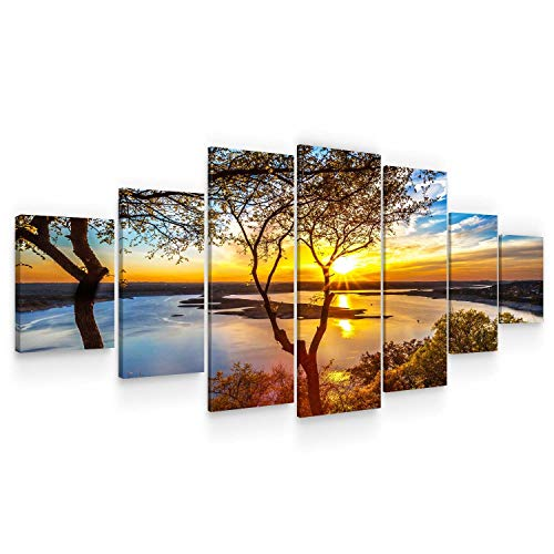 (STARTONIGHT Huge Canvas Wall Art - Sunrise On The Lake Large Framed Set of 7 40 x 95 Inches)