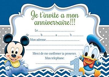 10 Tarjetas Invitación Cumpleaños Minnie Mickey Mouse Color