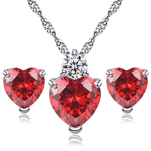 Heart Love Austrian Crystal (Kebaner Heart Love Austrian Crystal Pendant Necklace Stud Earrings Set Jewelry For Women Girls Gifts Red)