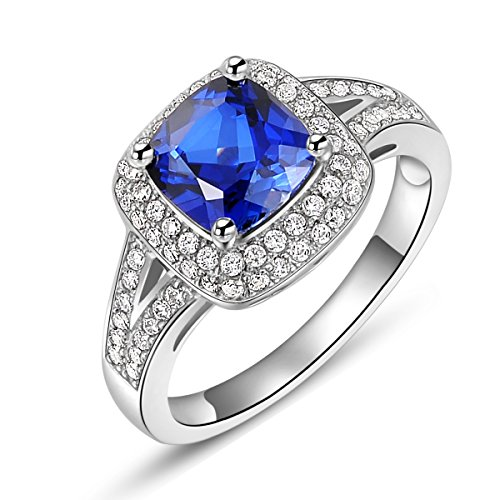 Newshe Gemstone Statement Ring 3ct Cushion Created Blue Sapphire White Topaz Cz Sterling Silver Size ()