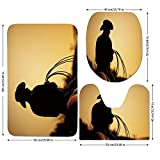 3 Piece Bathroom Mat Set,Western,Cowboy with Lasso Silhouette at Small Town Rodeo Theme American USA Culture Decorative,Brown Light Brown,Bath Mat,Bathroom Carpet Rug,Non-Slip