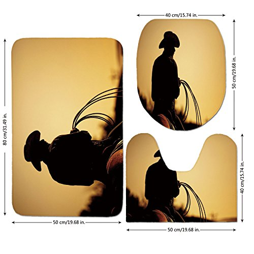 3 Piece Bathroom Mat Set,Western,Cowboy with Lasso Silhouette at Small Town Rodeo Theme American USA Culture Decorative,Brown Light Brown,Bath Mat,Bathroom Carpet Rug,Non-Slip by iPrint