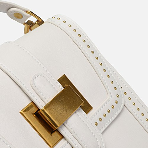 A bolso PU Messenger blanco sólido decorativo color A trabajo Remache bloqueo negro de Bag bandolera Color wFUYnq6