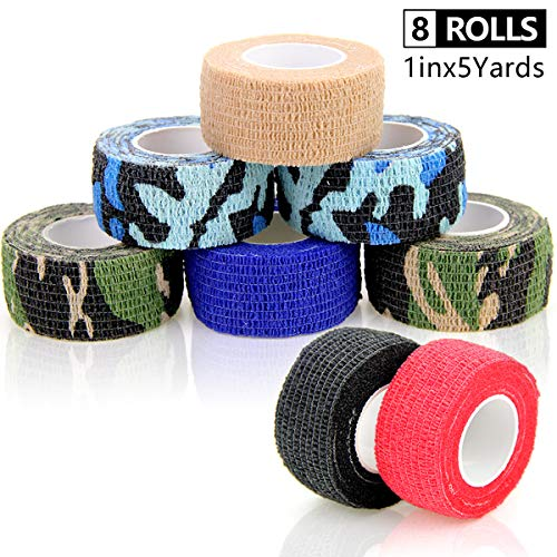 AUPCON Self Adherent Bandage Wrap Self Adhesive Cohesive Stick Bandage Tape Non-Woven Elastic Bandage Wrap for Pet Animal First Aid and Fingers & Toes,FDA Approved 1inx5 Yards (Mixed Color, 8 Rolls)
