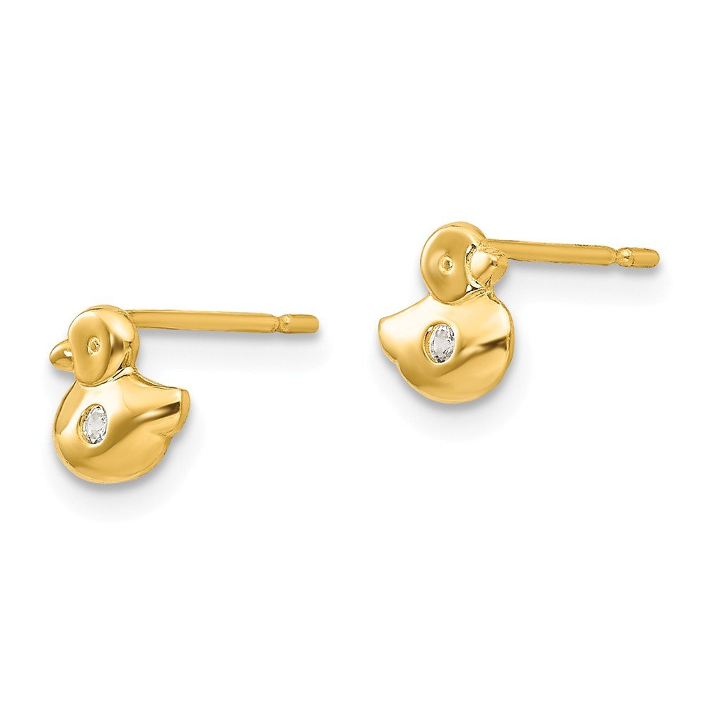 14k Yellow Gold Madi K CZ Childrens Duck Post Earrings
