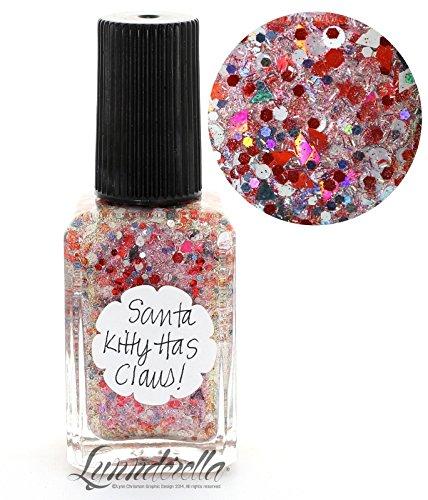 Lynnderella Limited Edition Red Multi Glitter Christmas Nail Polish—Santa Kitty Has Claus by Lynnderella