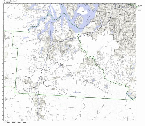 Thurston County, Washington WA ZIP Code Map Not Laminated ()