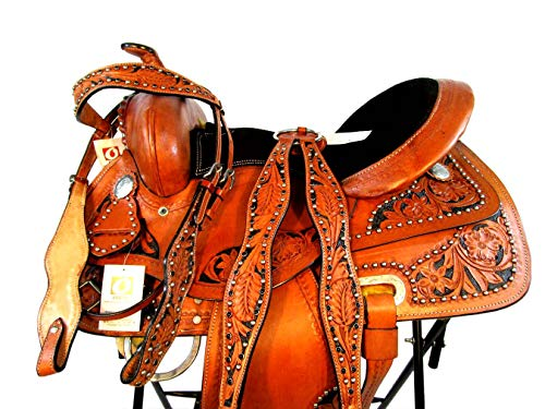 (PRO Western 14 15 16 Pleasure Horse Trail Tooled Leather Show Racing Barrel Saddle (16 Inch))