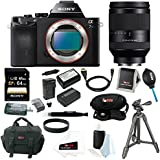 Sony ILCE-7S/B ILCE7SB ILCE-7S a7S Full Frame Mirrorless Interchangeable Lens Camera Body with Sony FE 24-240mm F3.5-6.3 OSS Full-Frame Lens + Sony 64GB SD Card + Sony VCT-R100 Tripod + Wasabi Power Two Replacement NP-FW50 Batteries & One Charger + Deluxe