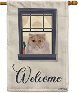 BAGEYOU Welcome to Our Home Dog House Flag Persian Cat on The Window Decor Home Banner for Outside 28x40 Inch Print Both Sides
