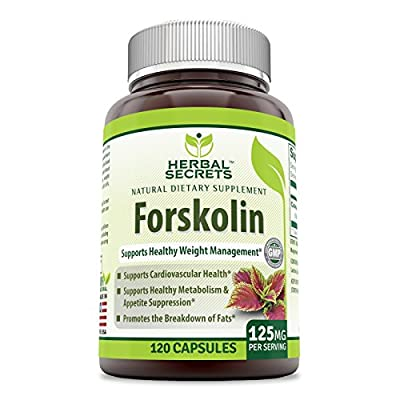 Herbal Secrets Forskolin Supports Healthy Weight Management 125 mg Per Serving 120 caps