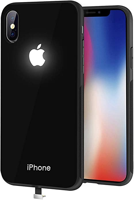 Yacn Iphone Xs Max Cases Black Led Logo Light Iphone Case Glowing Light Up Logo Case Illuminate Cover Glass Black I Xs Max Amazon Ca Cell Phones Accessories
