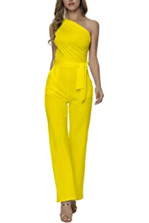 3f75514dc8a Veroge Women s Sexy One Shoulder High Waisted Wide Leg Jumpsuit with Belt ¡