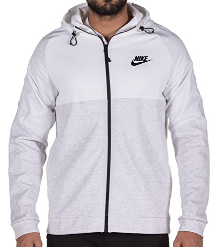 Nike Mens Sportswear Advance 15 Full Zip Hoodie (Birch Heather/White/Black, XXL) (Flush Birch)