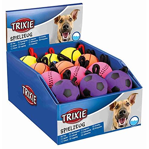 Trixie 3459 Pelotas Neón con Cuerda, Caucho Suave, 6 x 30 cm, 24 Unidades