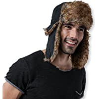 Tough Headwear Trapper Hat with Faux Fur & Ear Flaps - Ushanka Aviator Russian Hat for Serious Expeditions & Serious Style. Waterproof, Windproof & Thermal Shell for Winter Warmth - Fits Men & Women
