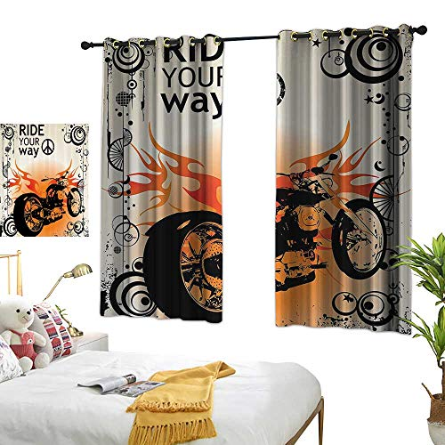 (Warm Family Grommet Curtains Manly Decor,Motorcycle mage with Ride Your Way Text Peace Sign Freedom Action Freestyle 63
