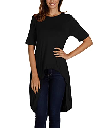 ac3823ae4cc7ab Haola Women's High Low Tunic Tops Casual Loose Short Sleeve Striped T-Shirt  Blouse Black