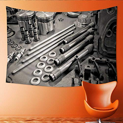 (Printsonne Customed Widened Tapestry Collection of Sepia Toned Precision auto Engine p s Laid Out in a Workshop Wall Hanging Tapestry 80W x 60L Inch)