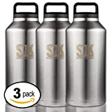 3-pack double wall stainless steel thermos - 64 oz (2 liter)