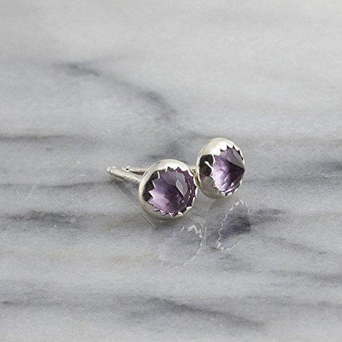 Silver Stud Earrings, Amethyst Stone Silver Studs 4mm by Fashion Art Jewelry