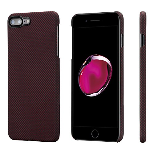 PITAKA Slim Case Compatible with iPhone 8 Plus/7 Plus 5.5, Aramid Fiber [Real Body Armor Material] Phone Case,Minimalist Strongest Durable Snugly Fit Snap-on Case - Black/Red(Plain)