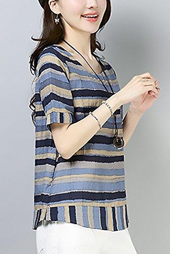 Fashion Corta Camicetta Vintage Baggy Rotondo Collo Battercake Maglietta Camicia Manica Donna Bluse Shirt Lino Eleganti Grigio Estivi Donne Casuale Stripe Casual HxtItA8q