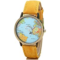 YANG-YI Global Travel by Plane Map Women Dress Denim Fabric Band Wrist Watch