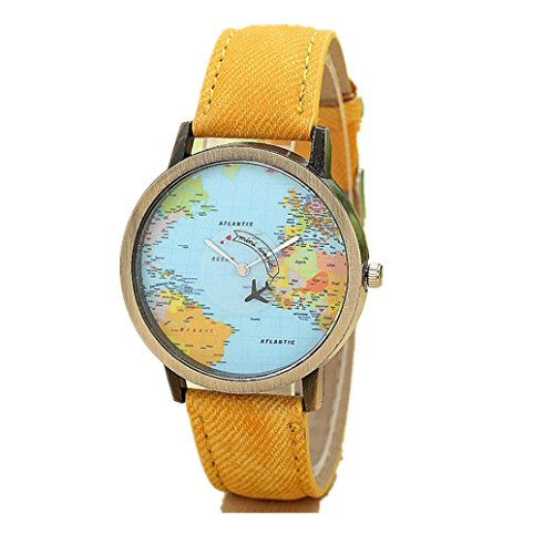 YANG-YI Global Travel by Plane Map Women Dress Denim Fabric Band Wrist Watch (Yellow)