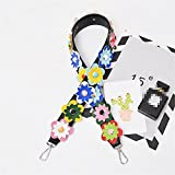 Colourful Flower style Length 37 inch Black Strap replacement women bag / messenger bag straps DIY (Silver Button)