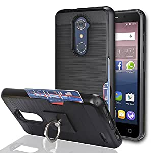 ZTE Imperial Max Z963U/ZMAX Pro Z981/Kirk Z988/Grand X Max 2/Max Duo LTE Case With Phone Stand,Ymhxcy [Credit Card Slots Holder] Dual Full-Body Shockproof Protective Cover Shell For Z981-LCK Black