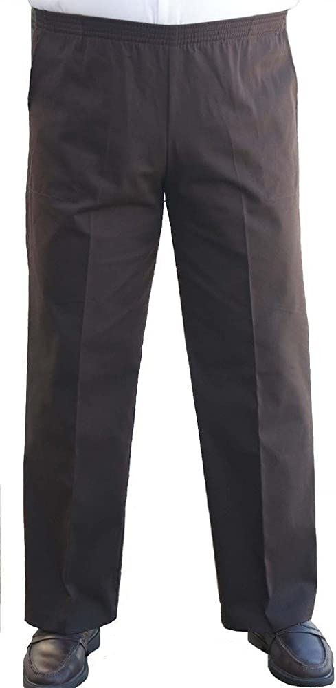77c83cc3 The Senior Shop Men's Full Elastic Waist, No Zipper, Buttons Loops, Pull On  Twill Casual Pant