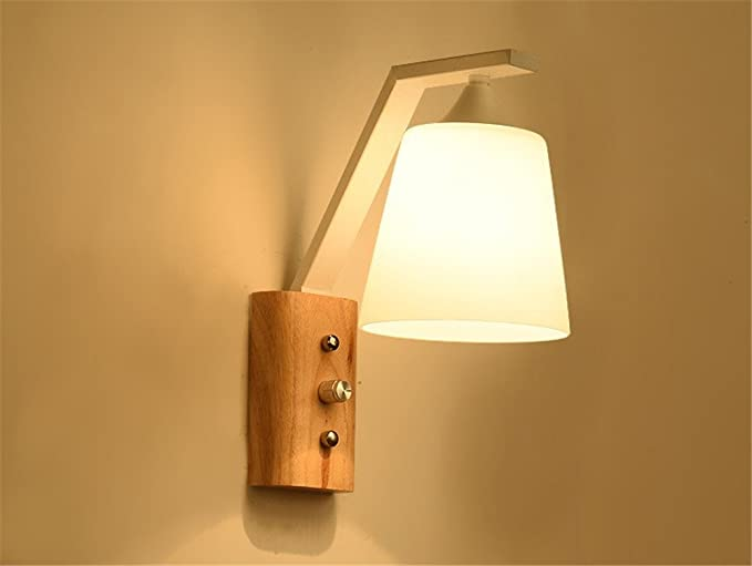 Moderna elegante a mano vetro paralume in legno lampada da parete