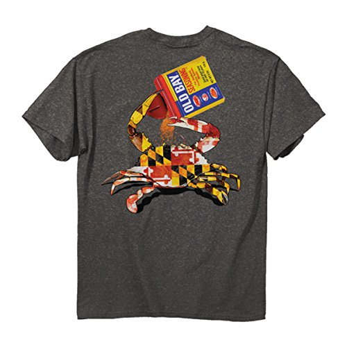 Maryland Flag Crab Old Bay Open Can Shirt Double Sided Print Dark Gray (Small - 2XL)