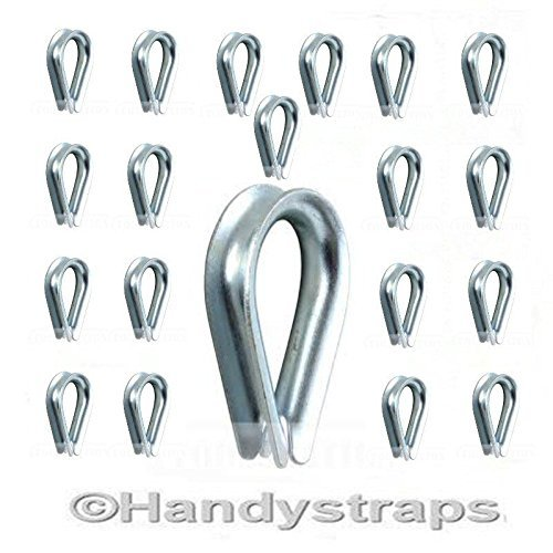 20 x 6mm Galvanised Steel Wire Rope Thimbles for 6mm wire rope Free postage HandyStraps
