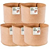 CastleGreens 5-Pack 45 Gallon Tan Color Grow Bags Without Handles Aeration Fabric Grow Pots
