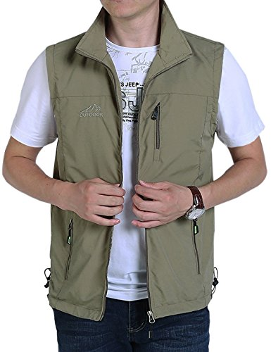 Gihuo Men's Casual Outdoor Lightweight Quick Dry Travel Vest Outerwear (Khaki, Large)