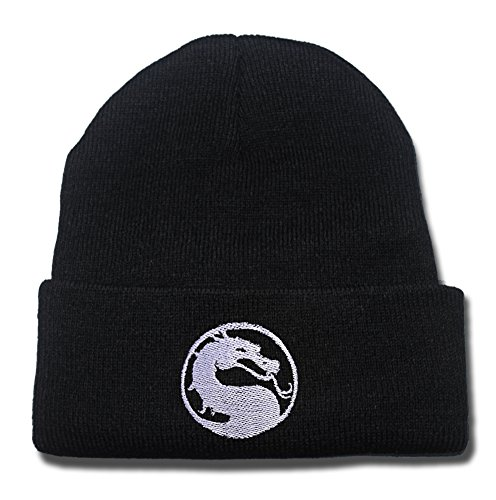 ZZZB 1 X Mortal Kombat Dragon Logo Beanie Fashion Unisex Embroidery Beanies Skullies Knitted Hats Skull (Women Of Mortal Kombat)